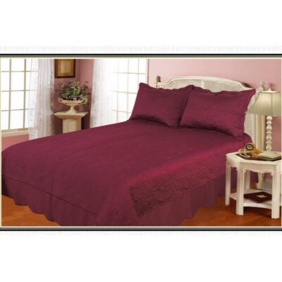 100% Cotton 3 Piece Quilt Set Color: Burgundy, Size: King