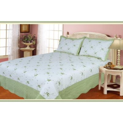 Cotton 3 Piece Quilt Set Color: Green, Size: King