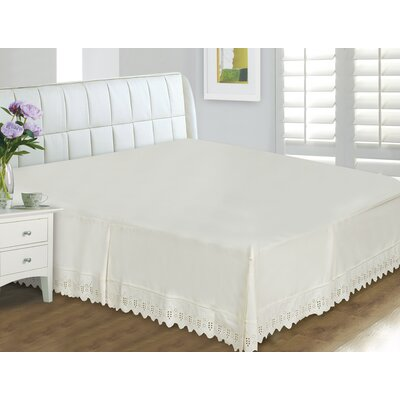Thull Eyelet Lace 400 Thread Count Bed Skirt Size: Queen, Color: Cream