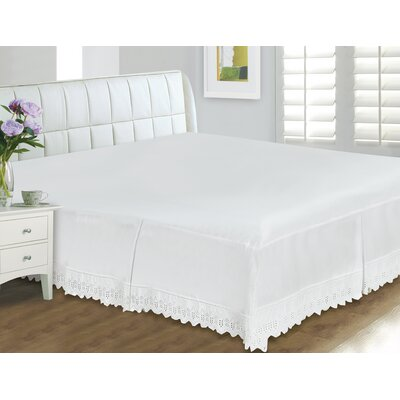 Thull Eyelet Lace 400 Thread Count Bed Skirt Size: Double/Full, Color: White