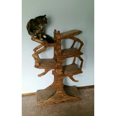 Handmade Inspired Cat Tree Size: 60 H x 30 W x 12 D, Color: Espresso