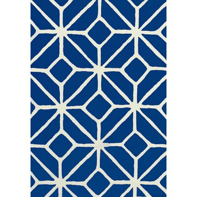 Trina Turk Trellis Print Fabric Upholstery: Marine