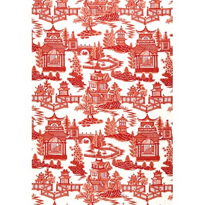 Exuberant Prints Nanjing Fabric Upholstery: Coral