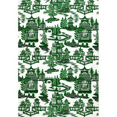 Exuberant Prints Nanjing Fabric Upholstery: Jade