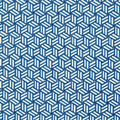 Miles Redd Tumbling Blocks Fabric Upholstery: Cobalt