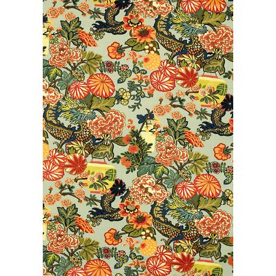Exuberant Chiang Mai Dragon Fabric Upholstery: Aquamarine