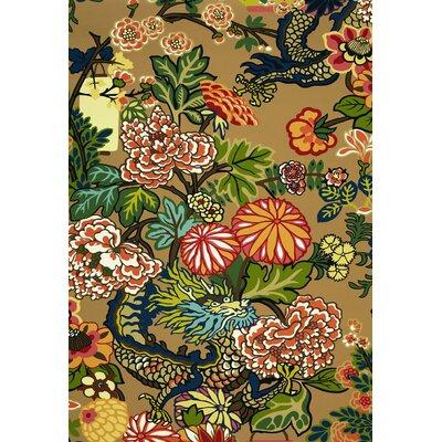 Exuberant Chiang Mai Dragon Fabric Upholstery: Mocha