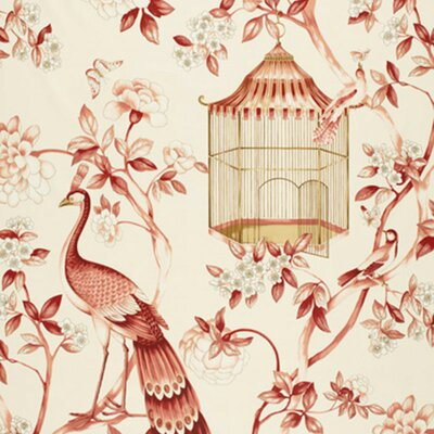 Oiseaux Et Fleurs Fabric Upholstery: Cinnabar