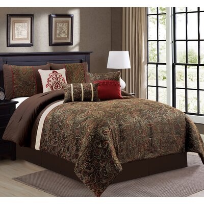 Estella 7 Piece Comforter Set Size: King