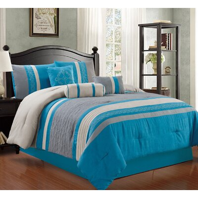Max 7 Piece Comforter Set Size: King, Color: Blue