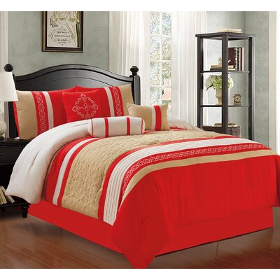 Max 7 Piece Comforter Set Size: King, Color: Orange