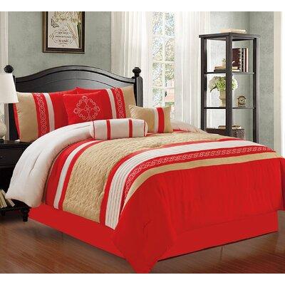 Max 7 Piece Comforter Set Size: Queen, Color: Orange