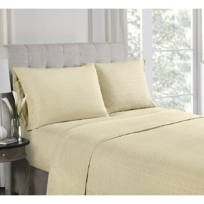 Anzilotti Embossed Sheet Set Size: Queen, Color: Beige
