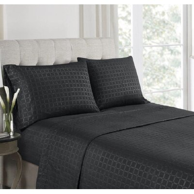 Anzilotti Embossed Sheet Set Size: King, Color: Black