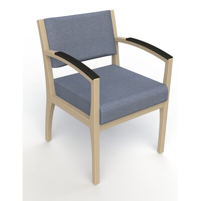 Itasca Wall Guard Back Leg Guest Chair Arm Options: Padded, Seat Color: Script Cobalt, Finish: Natural