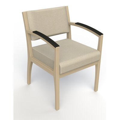 Itasca Wall Guard Back Leg Guest Chair Arm Options: Padded, Seat Color: Script Linen, Finish: Natural