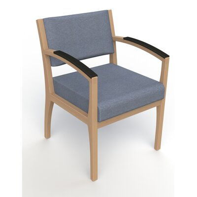 Itasca Wall Guard Back Leg Guest Chair Finish: Fawn, Arm Options: Padded, Seat Color: Script Cobalt