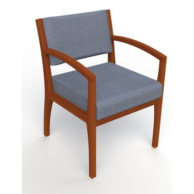 Itasca Wall Guard Back Leg Guest Chair Arm Options: Straight, Seat Color: Script Cobalt, Finish: Light Cherry