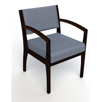Itasca Wall Guard Back Leg Guest Chair Seat Color: Script Cobalt, Finish: Espresso, Arm Options: Straight