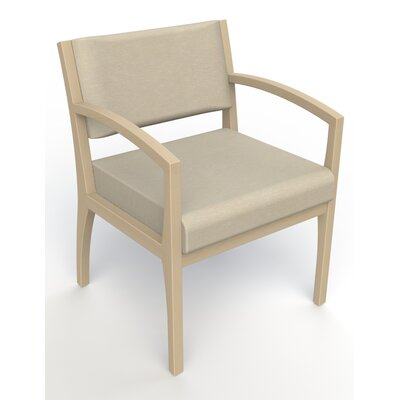 Itasca Wall Guard Back Leg Guest Chair Seat Color: Script Linen, Finish: Natural, Arm Options: Straight