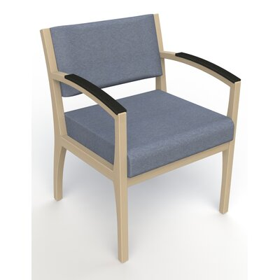Itasca Wall Guard Back Leg Guest Chair Seat Color: Script Cobalt, Finish: Natural, Arm Options: Padded