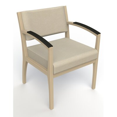 Itasca Wall Guard Back Leg Guest Chair Seat Color: Script Linen, Finish: Natural, Arm Options: Padded