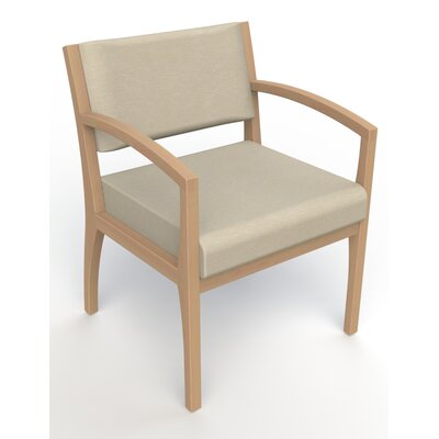 Itasca Wall Guard Back Leg Guest Chair Arm Options: Straight, Seat Color: Script Linen, Finish: Fawn