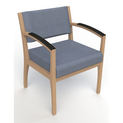 Itasca Wall Guard Back Leg Guest Chair Arm Options: Padded, Seat Color: Script Cobalt, Finish: Fawn