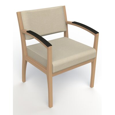 Itasca Wall Guard Back Leg Guest Chair Arm Options: Padded, Seat Color: Script Linen, Finish: Fawn