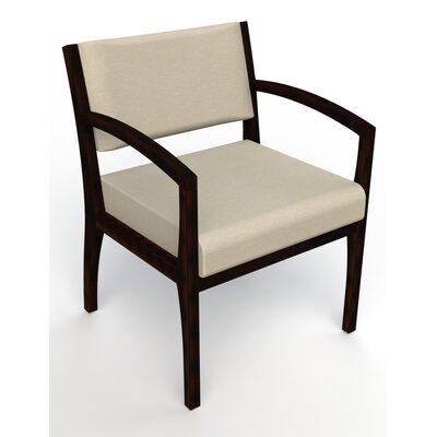 Itasca Wall Guard Back Leg Guest Chair Arm Options: Straight, Seat Color: Script Linen, Finish: Espresso