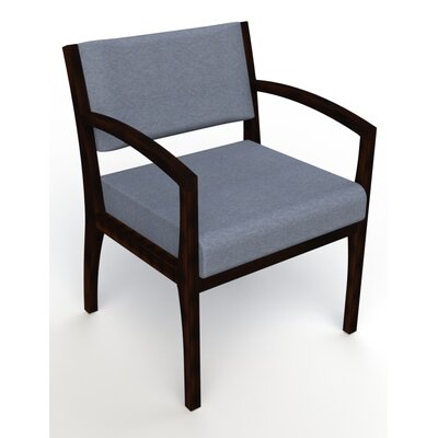 Itasca Wall Guard Back Leg Guest Chair Arm Options: Straight, Seat Color: Script Cobalt, Finish: Espresso