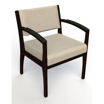 Itasca Wall Guard Back Leg Guest Chair Seat Color: Script Linen, Finish: Espresso, Arm Options: Padded