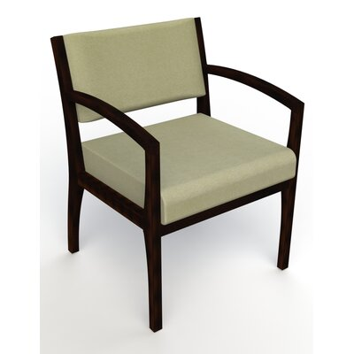 Itasca Wall Guard Back Leg Guest Chair Arm Options: Straight, Seat Color: Script Palm, Finish: Espresso