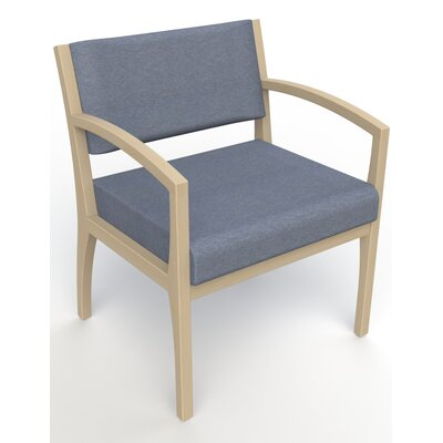 Itasca Wall Guard Back Leg Guest Chair Seat Color: Script Cobalt, Finish: Natural, Arm Options: Straight