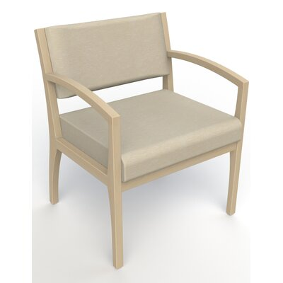 Itasca Wall Guard Back Leg Guest Chair Seat Color: Script Linen, Arm Options: Straight, Finish: Natural