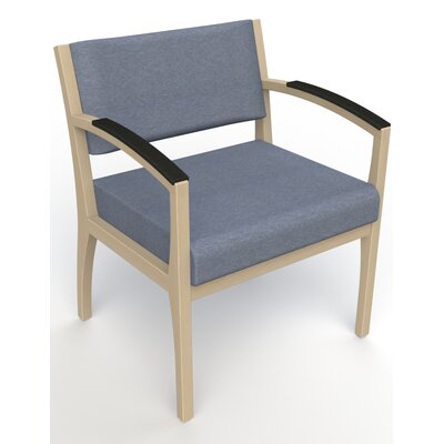 Itasca Wall Guard Back Leg Guest Chair Arm Options: Padded, Finish: Natural, Seat Color: Script Cobalt