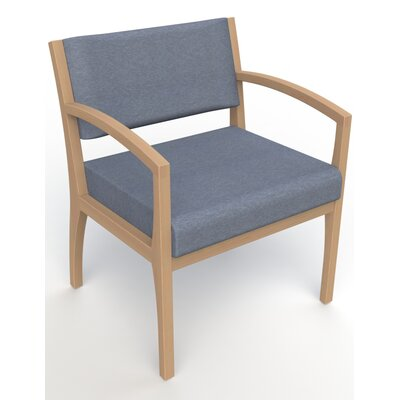 Itasca Wall Guard Back Leg Guest Chair Seat Color: Script Cobalt, Finish: Fawn, Arm Options: Straight