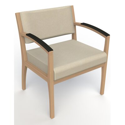 Itasca Wall Guard Back Leg Guest Chair Seat Color: Script Linen, Arm Options: Padded, Finish: Fawn