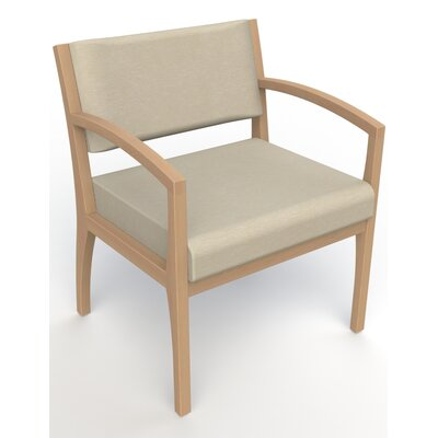 Itasca Wall Guard Back Leg Guest Chair Seat Color: Script Linen, Arm Options: Straight, Finish: Fawn