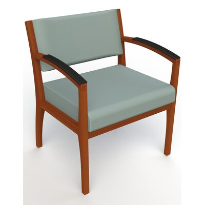 Itasca Wall Guard Back Leg Guest Chair Seat Color: Avant Calm, Finish: Light Cherry, Arm Options: Padded