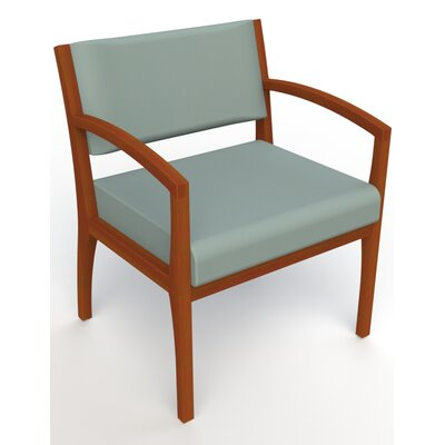 Itasca Wall Guard Back Leg Guest Chair Seat Color: Avant Calm, Finish: Light Cherry, Arm Options: Straight