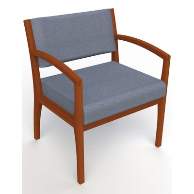 Itasca Wall Guard Back Leg Guest Chair Seat Color: Script Cobalt, Finish: Light Cherry, Arm Options: Straight
