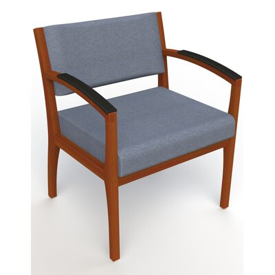 Itasca Wall Guard Back Leg Guest Chair Seat Color: Script Cobalt, Finish: Light Cherry, Arm Options: Padded