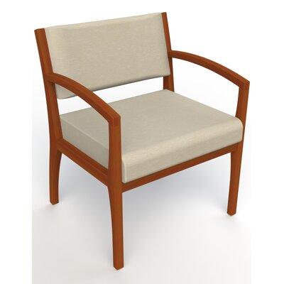 Itasca Wall Guard Back Leg Guest Chair Seat Color: Script Linen, Finish: Light Cherry, Arm Options: Straight