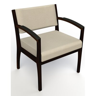 Itasca Wall Guard Back Leg Guest Chair Seat Color: Script Linen, Arm Options: Padded, Finish: Espresso