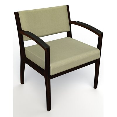 Itasca Wall Guard Back Leg Guest Chair Seat Color: Script Palm, Finish: Espresso, Arm Options: Padded