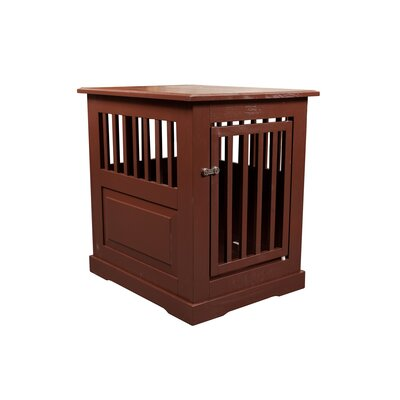 Flower Amish Pet Crate Finish: Mahogany, Size: Medium (27