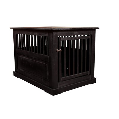 Flower Amish Pet Crate Finish: Black, Size: Large (27 H x 28 W x 39 D)