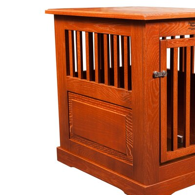 Flower Pet Crate Finish: Burnished Oak, Size: Medium (27
