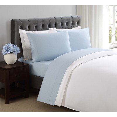 Classic Cotton Pillow Case Size: King, Color: Skyway